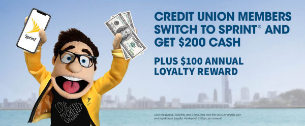 Credit Union Members switch to Sprint and get $200 Cash*