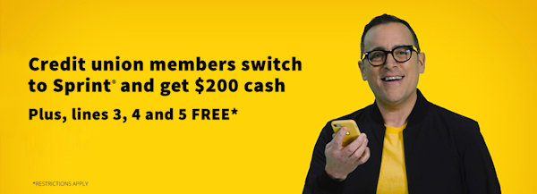 Credit Union Members switch to Sprint and get $200 Cash plus lines 3, 4, & 5 free*